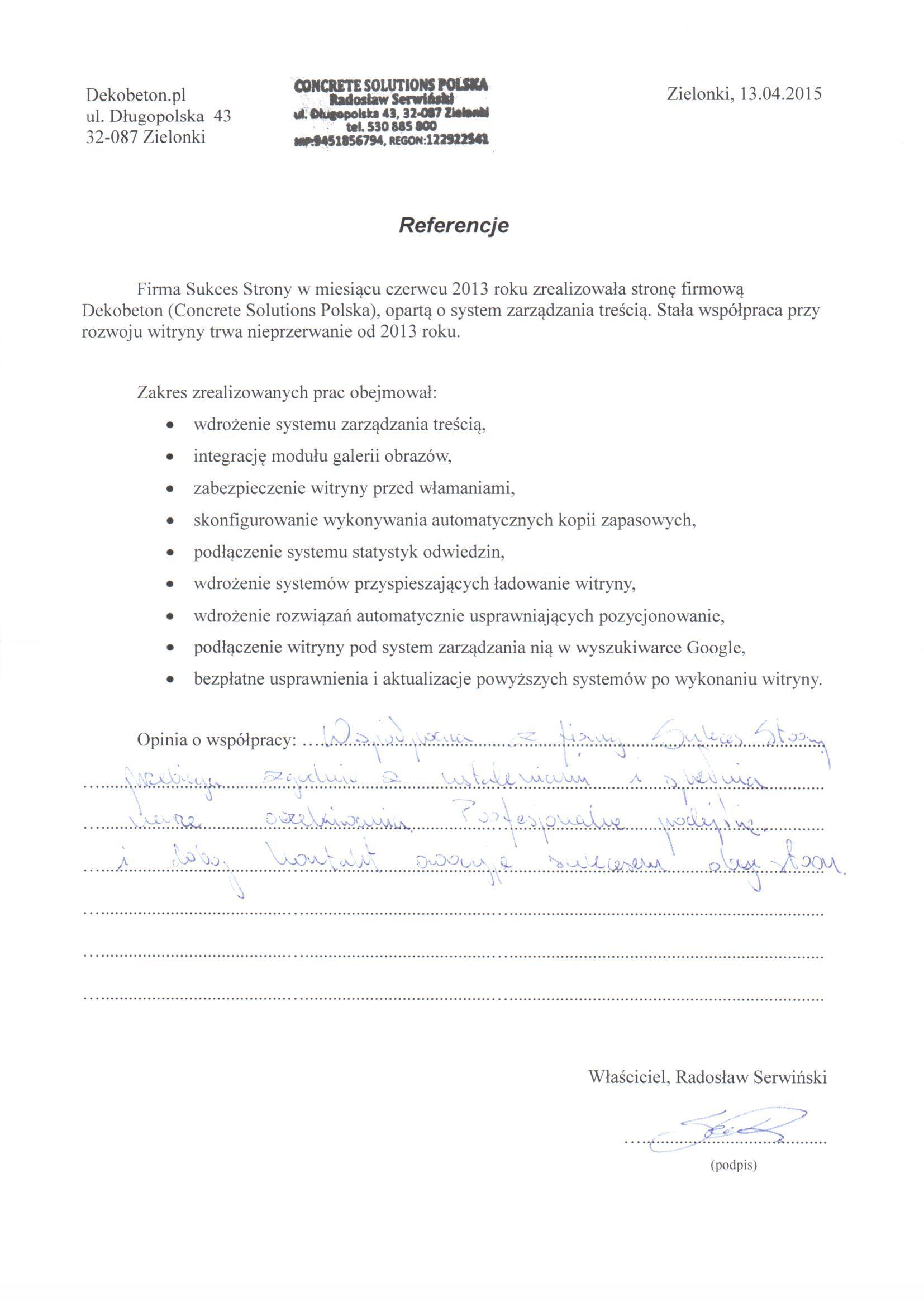Referencje - Dekobeton
