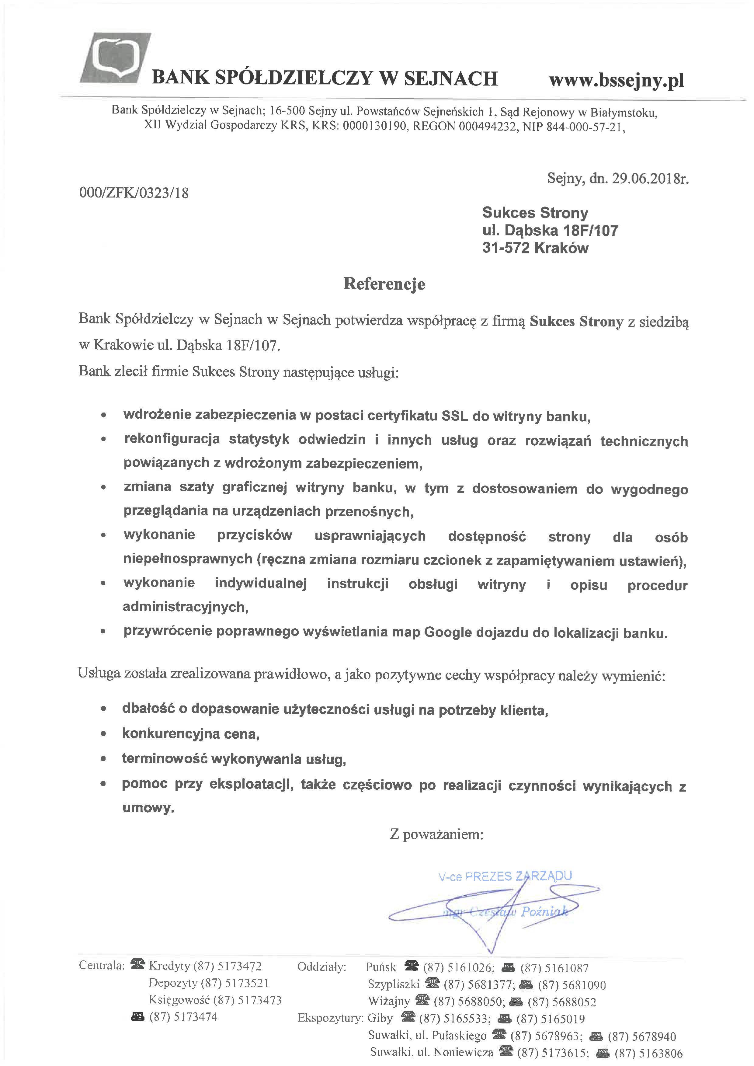 Referencje - Bank Spółdzielczy w Sejnach - SSL