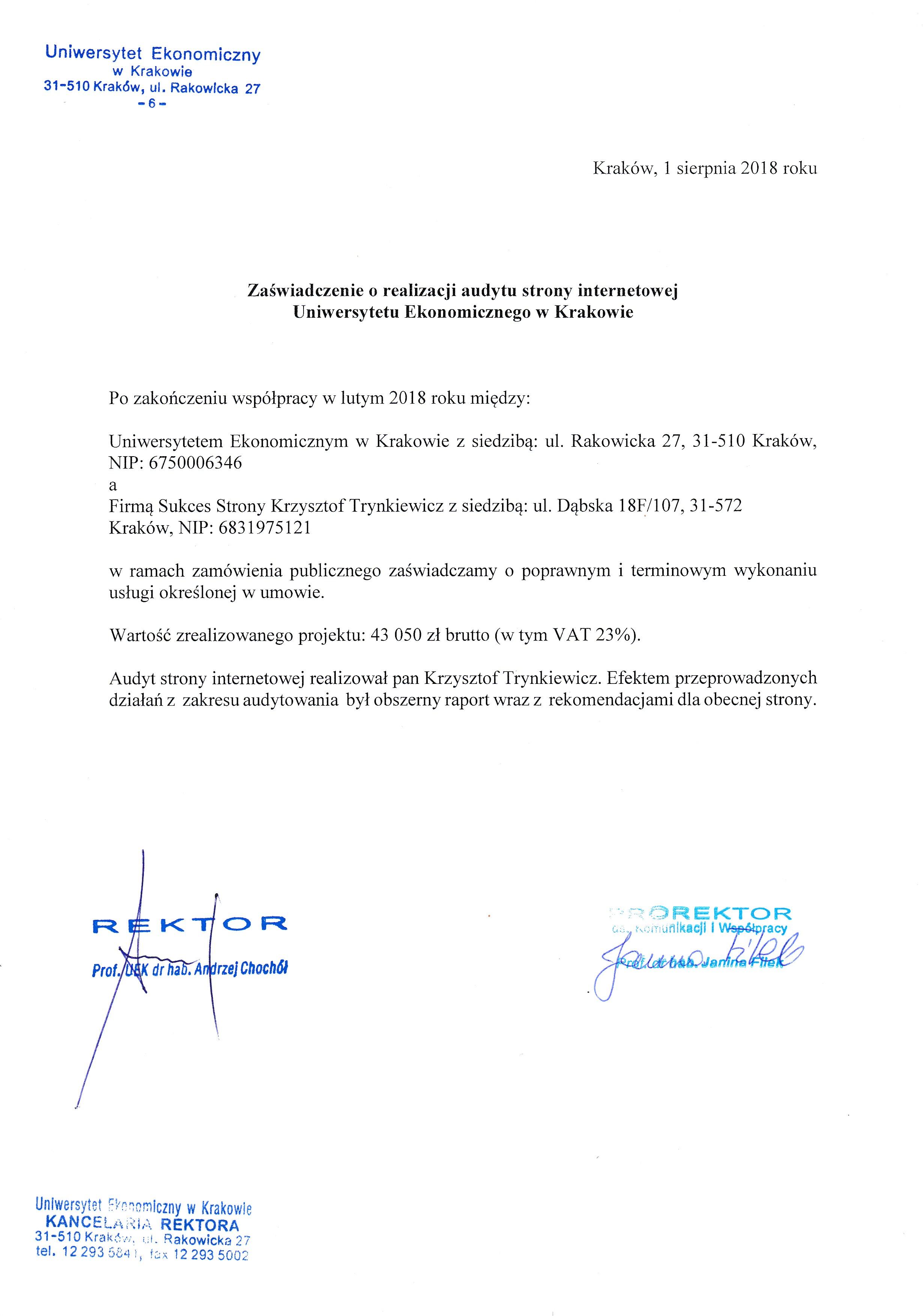 Referencje - UEK - Audyt
